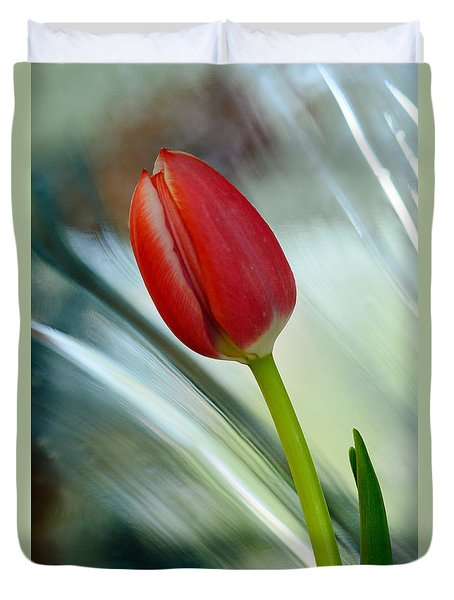 Abstract Tulip Under Glass Duvet Cover