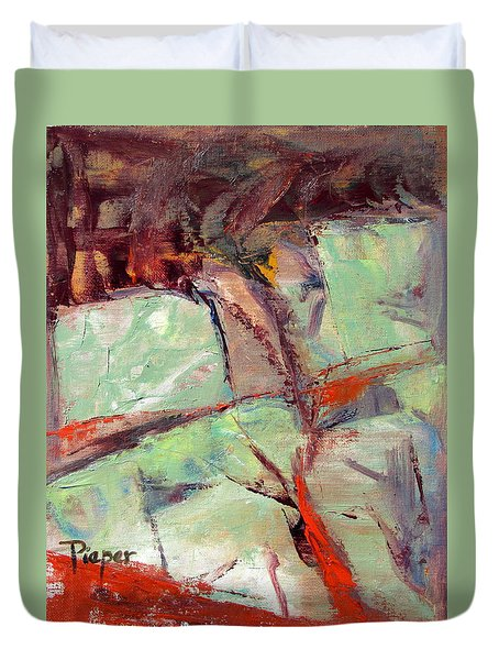 Abstract With Cadmium Red Duvet Cover