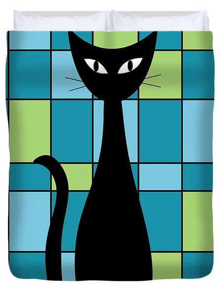Abstract With Cat In Teal Duvet Cover