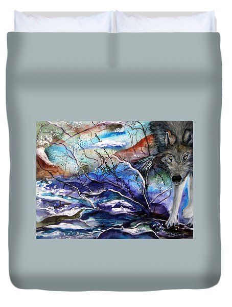 Abstract Wolf Duvet Cover by Lil Taylor