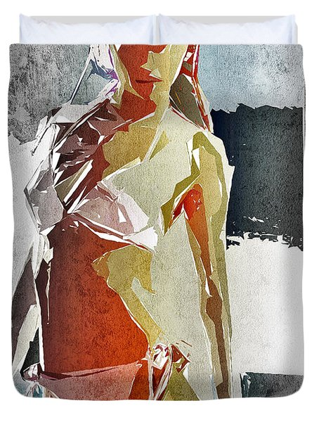 Abstract Woman Duvet Cover by David Ridley