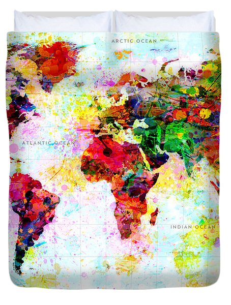 Abstract World Map Duvet Cover