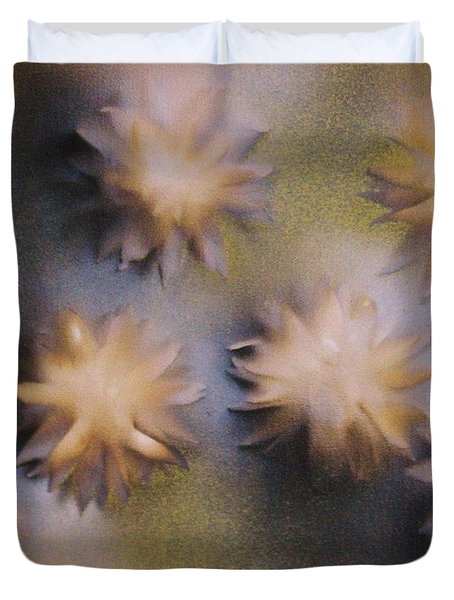 Abstract Yellow Flowers Duvet Cover