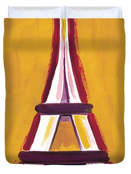 Abstract Yellow Red Eiffel Tower Duvet Cover