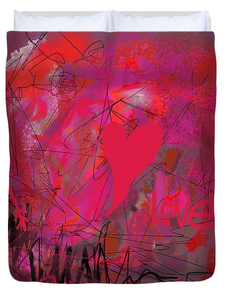 Duvet Cover featuring the photograph Abstracted Valentine In Pink by Suzanne Powers