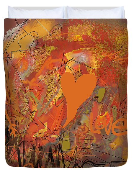 Duvet Cover featuring the photograph Abstracted Valentine In Cardomom by Suzanne Powers