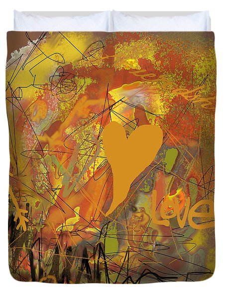 Duvet Cover featuring the photograph Abstracted Valentine In Gold by Suzanne Powers