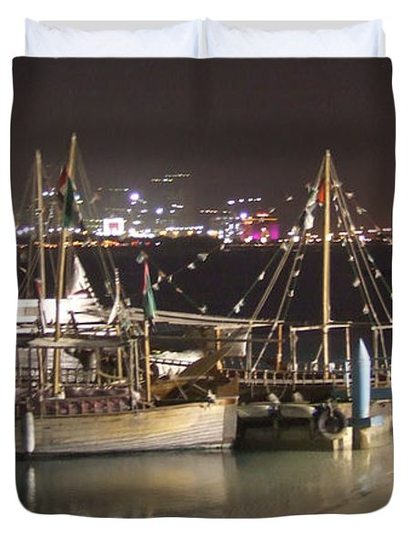Duvet Cover featuring the photograph Abu Dhabi At Night by Andrea Anderegg