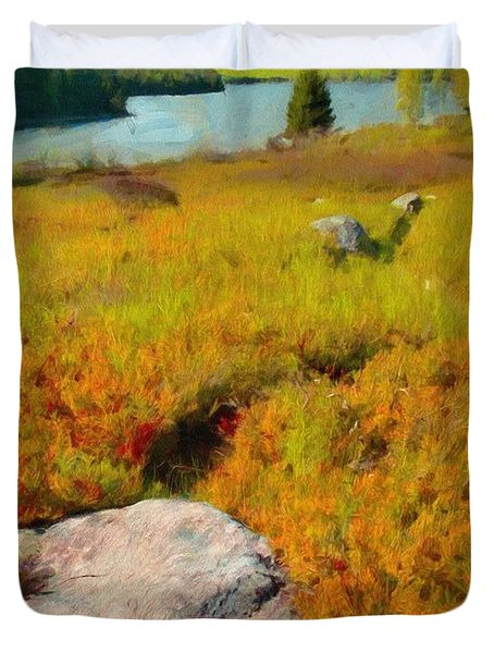 Duvet Cover featuring the painting Acadia Spring by Jeff Kolker