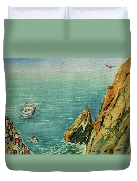 Acapulco Cliff Diver Duvet Cover by Frank Hunter