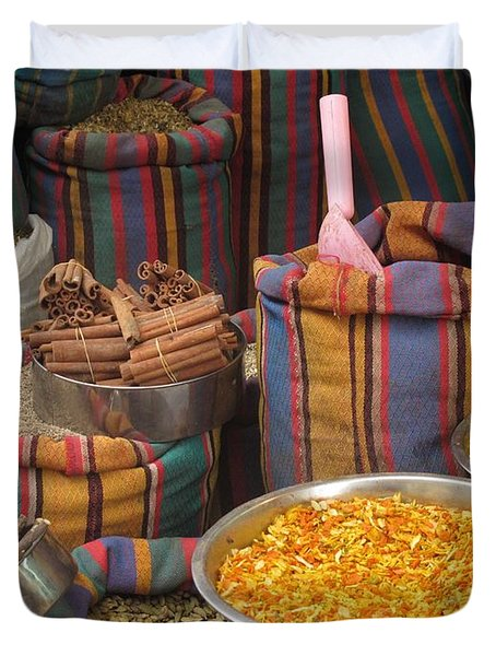 Duvet Cover featuring the photograph Acco Acre Israel Shuk Market Spices Stripes Bags by Paul Fearn