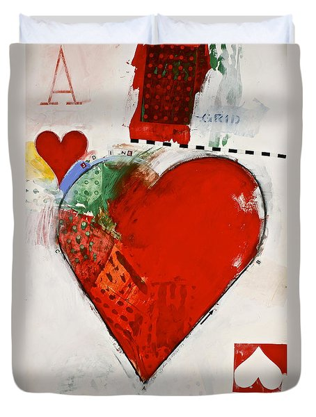 Duvet Cover featuring the painting Ace Of Hearts 8-52 by Cliff Spohn