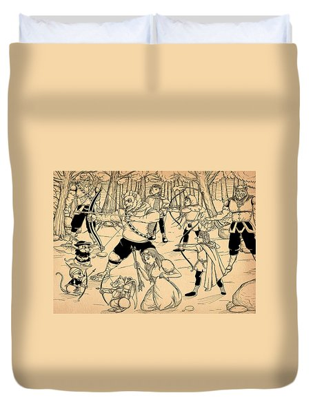 Duvet Cover featuring the painting Archery In Oxboar by Reynold Jay