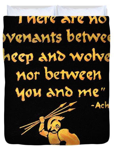 Achilles Admonition Duvet Cover