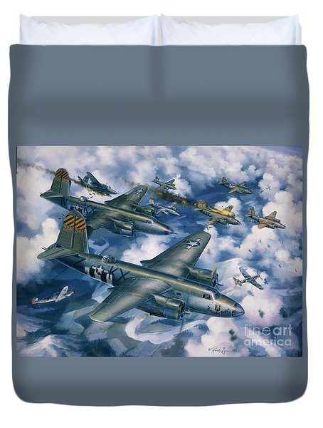 Achtung Zweimots Duvet Cover by Randy Green