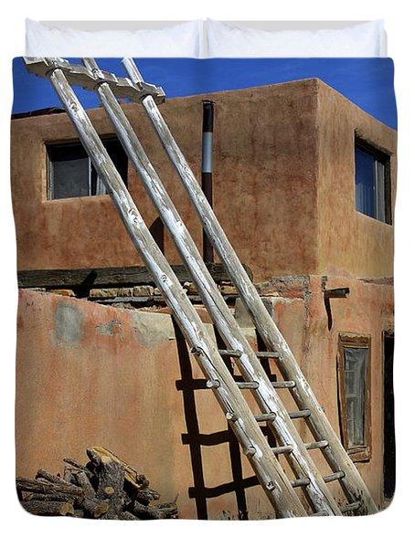 Acoma Pueblo Adobe Homes 3 Duvet Cover by Mike McGlothlen