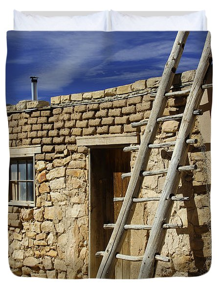 Acoma Pueblo Adobe Homes 4 Duvet Cover by Mike McGlothlen