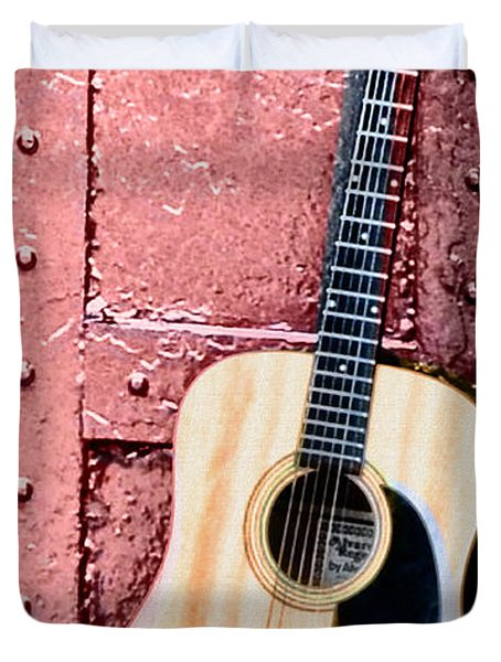 Acoustic Guitar And Red Door Duvet Cover by Bill Cannon
