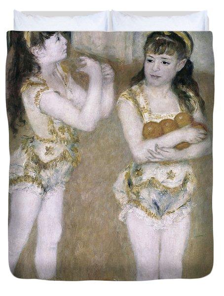 Acrobats At The Cirque Fernand Duvet Cover by Pierre Auguste Renoir