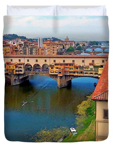 Across The Arno River Duvet Cover by Caroline Stella