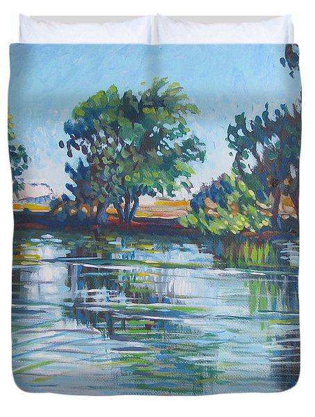 across the Joan Darrah Promenade Duvet Cover by Vanessa Hadady BFA MA