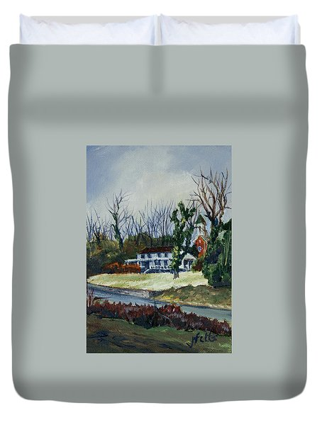 Across The Railroad Duvet Cover by Janet Felts