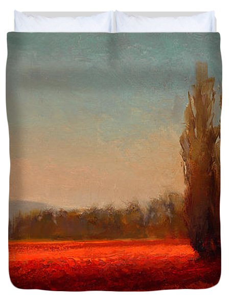 Across The Tulip Field - Horizontal Landscape Duvet Cover
