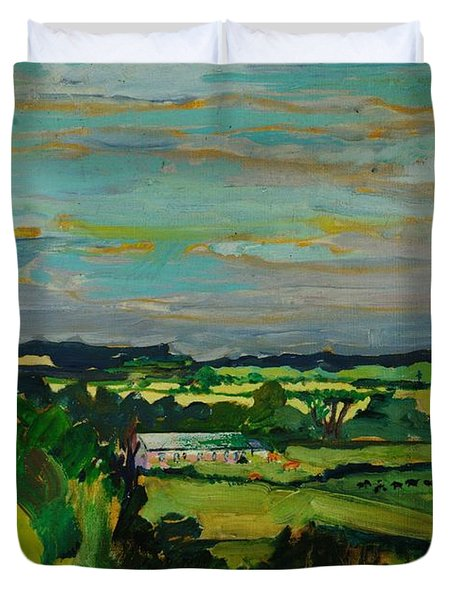 Across The Valley, Bedfordshire, 1973 Oil On Canvas Duvet Cover