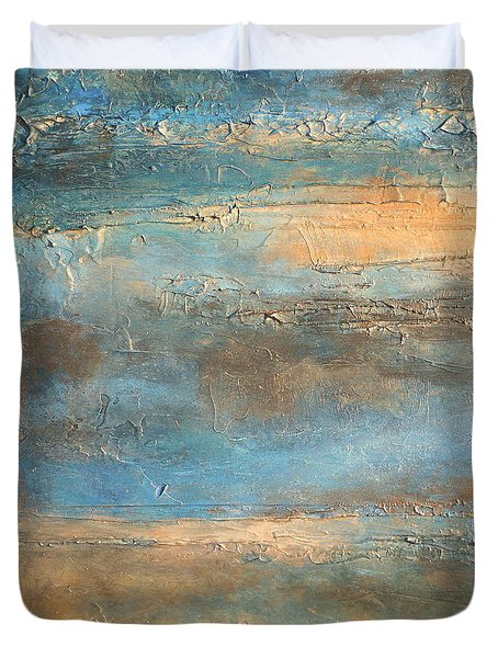 acrylic abstract landscape painting COASTAL MORNING Duvet Cover