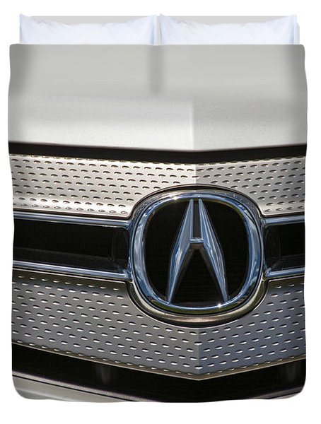 Acura Grill Emblem Close Up Duvet Cover by David Zanzinger