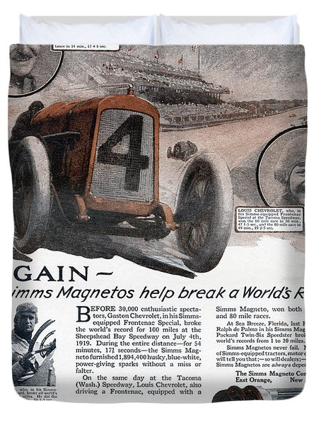 Ad Simms Magnetos, 1919 Duvet Cover