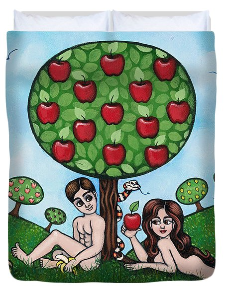 Adam And Eve The Naked Truth Duvet Cover