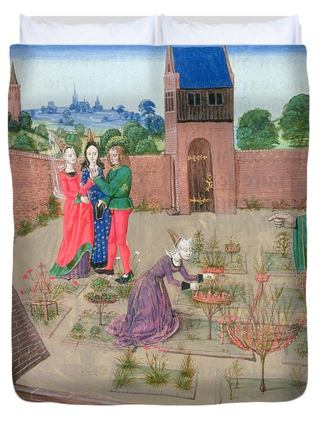 Add 19720 Fol.214 Walled Garden With A Woman Gardening And Others Gossiping, From Livre Des Duvet Cover