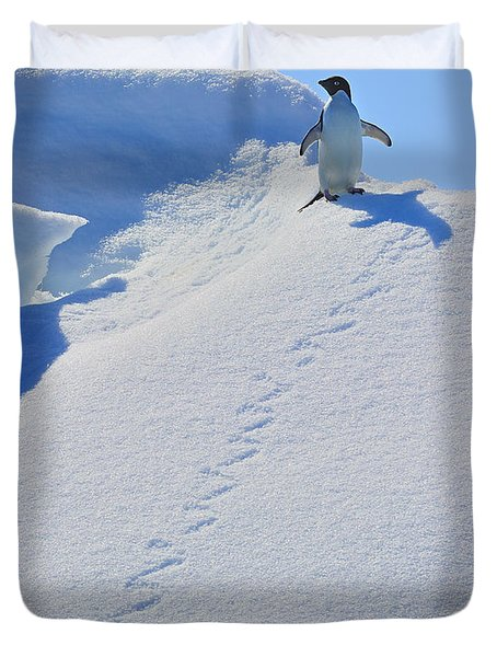 Adelie Penguin On Bergie Bit Duvet Cover