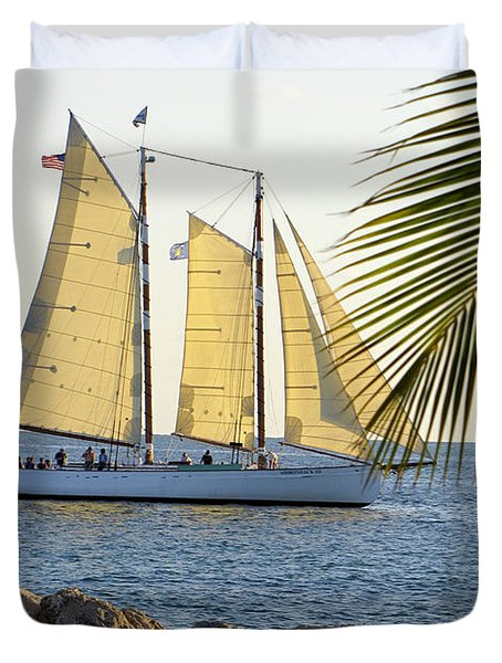 Sailing On The Adirondack In Key West Duvet Cover