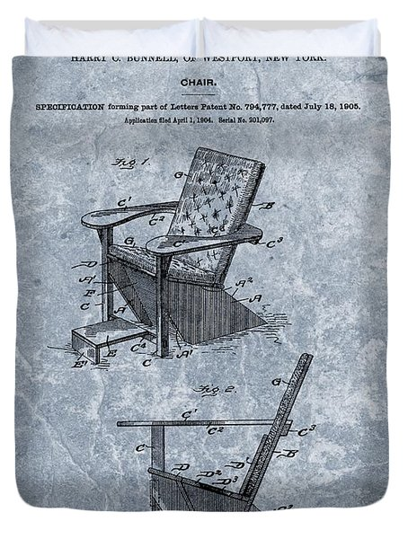 Adirondack Chair Patent Blue Duvet Cover