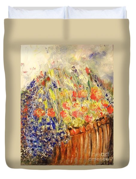 Duvet Cover featuring the painting Adirondack Floral by Laurie Lundquist