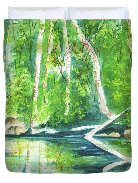 Adirondack Zen Duvet Cover by Ellen Levinson