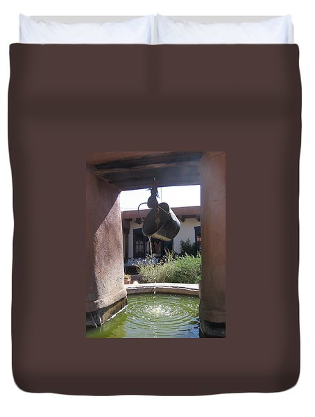 Duvet Cover featuring the photograph Adobe Water Well In New Mexico by Dora Sofia Caputo Photographic Art and Design