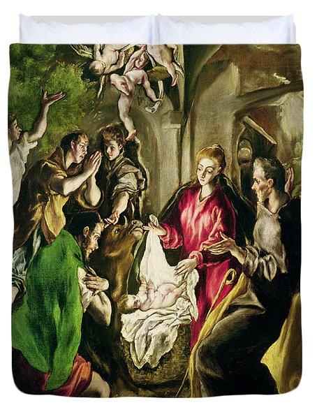 Adoration Of The Shepherds Duvet Cover by El Greco Domenico Theotocopuli