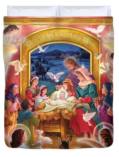 Adoring Angels Nativity Duvet Cover