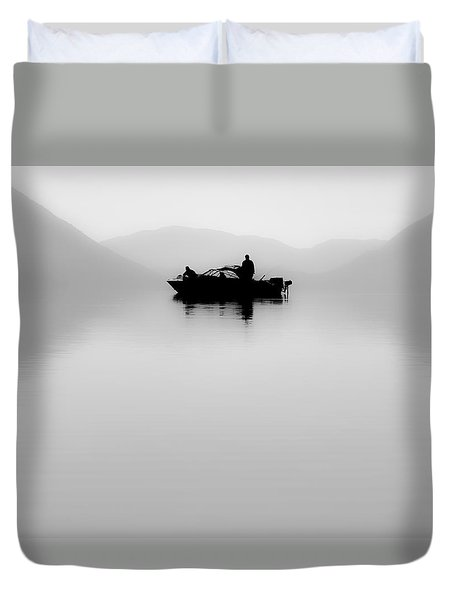 Duvet Cover featuring the photograph Adrift by Aaron Aldrich