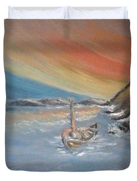 Duvet Cover featuring the painting Adrift by Teresa White