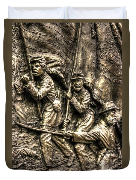 Advancing The Colors - State Of Delaware Monument Gettysburg Detail-a Autumn Mid-day Duvet Cover by Michael Mazaika
