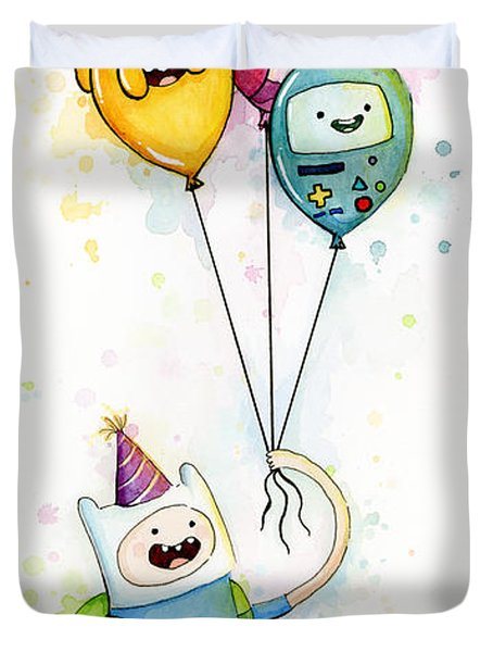 Adventure Time Finn With Birthday Balloons Jake Princess Bubblegum Bmo Duvet Cover