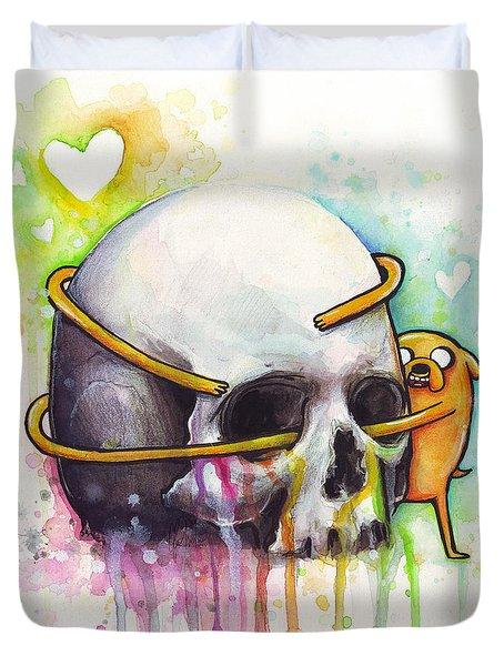 Adventure Time Jake Hugging Skull Watercolor Art Duvet Cover