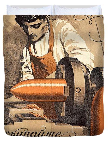 Advertisement For War Loan From World War I Duvet Cover by Richard Zarrin