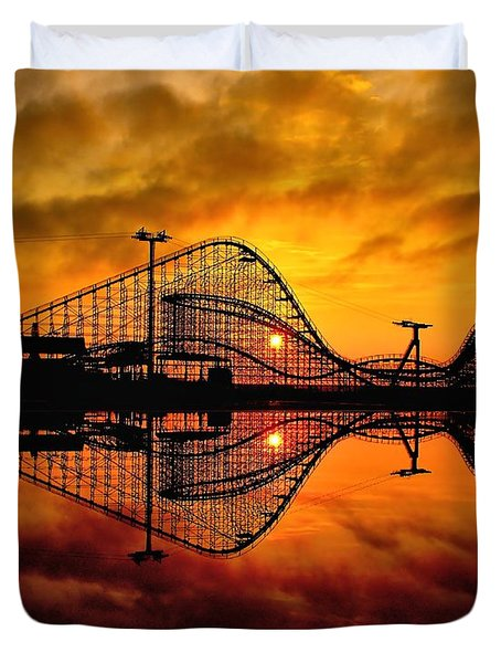 Adventure Pier At Sunrise Duvet Cover