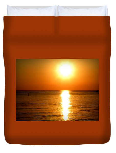 Duvet Cover featuring the photograph Aegean Sunset by Micki Findlay