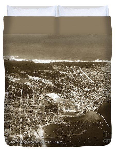 Aerial  Of Monterey Calif. Oct. 25 1934 Duvet Cover